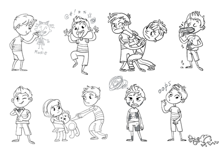 Bad behavior. Boy wants to take the girls toy. Boy broke vase. Boy holding slingshot. Boy grimace. Two boys fighting. Boy eating messily. Boy soiled clothes. Boy writes on a wall. Coloring book. Set Illustration