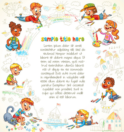 big picture: Cute children paint together the big picture. Scribble shapes. Playground. Template for advertising brochure. Ready for your message. Space for text. Funny cartoon character. Vector illustration