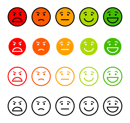 Iconic illustration of satisfaction level. Range to assess the emotions of your content. Excellent, good, normal, bad, awful. Vector illustration. Isolated on white background