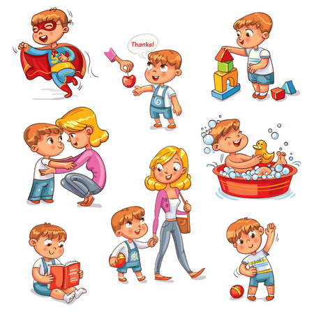 Cartoon kid daily routine activities set. Boy goes for a walk with mom.