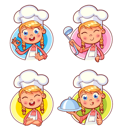 Happy smiling Chef Cook collection. Child in a cooks cap and with a towel, holds a ladle. Illustration