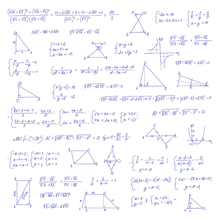 Hand drawn mathematical equation with handwritten algebra formulas. Geometry figures on white paper. Exercise book. Vettoriali
