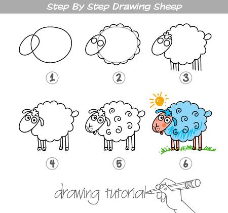 Tutoriel de dessin. Etape par étape, dessin Sheep. Facile à dessiner des moutons pour les enfants. Vecteurs