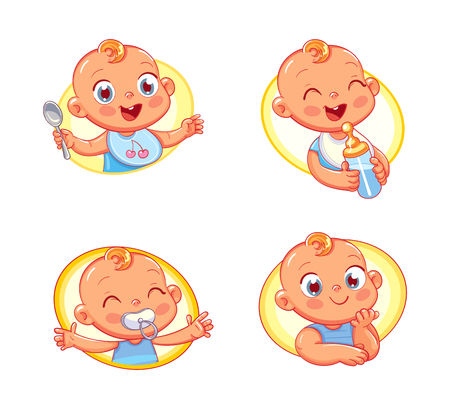 Happy smiling newborn boy or girl. Collection of toddler portraits in different situations. Icon design template for baby food and kids hygiene products and childrens store.