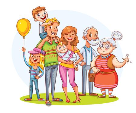 Mi gran familia juntos. Retrato de familia (padre, madre, hija, hijo, abuelos).
