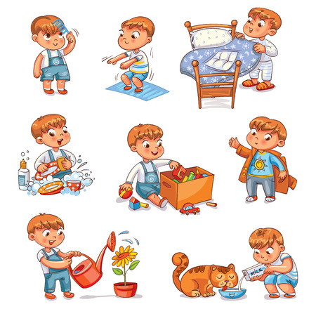 Daily routine. Child is combing his hair. Boy washes dishes. Kid is putting his toys in a box. Child makes bed. Kid himself clothes. Boy doing fitness exercise. Baby feeds a pet. Иллюстрация