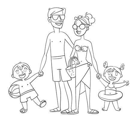 Libro Para Colorear Con Familia En Coche - Ilustración Vectorial ...