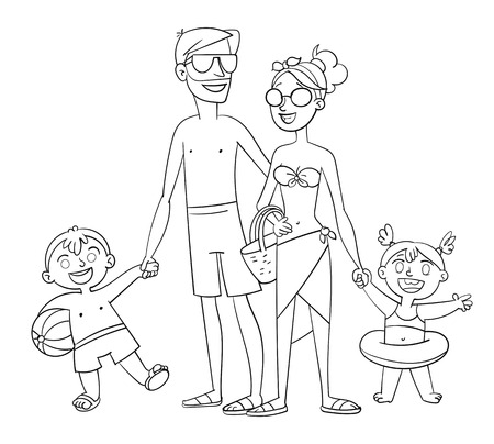 Happy family on vacation. Summer recreation. Posing in a swimsuit. Funny cartoon character. Illustration