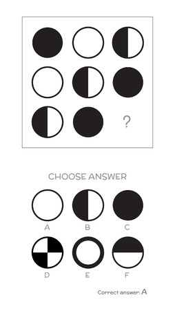 IQ test. Choose correct answer. Logical tasks composed of geometric shapes illustration.