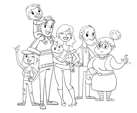Happy big family posing together. Funny cartoon character illustration. Coloring book. Isolated on white background. Illustration