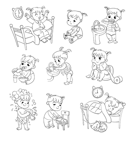 Daily routine activities. Baby sitting children's pot. Girl brushing her teeth. Hand washing. Girl washes her hands. Child taking shower. Wake up in morning. Funny cartoon character. Illustration