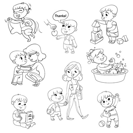 Cartoon kid daily routine activities set. Boy goes for a walk with mom. Kid with Speech say thank you. Child takes a bath. Reading a book. Boy doing exercises. Funny cartoon character.
