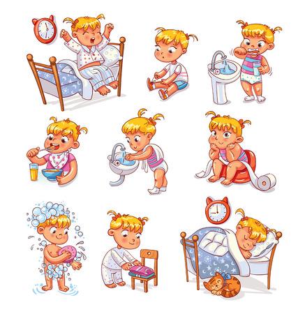 Dagelijkse routine-activiteiten. Baby zittende kinderpot. Meisje haar tanden poetsen. Kid vouwt zijn kleren netjes op. Meisje wast haar handen. Kind dat douche neemt. Wakker worden in de ochtend. Grappig stripfiguur.