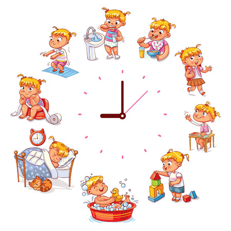 Daily routine with simple watches. Vector set with baby girl. Funny cartoon character. Vectores