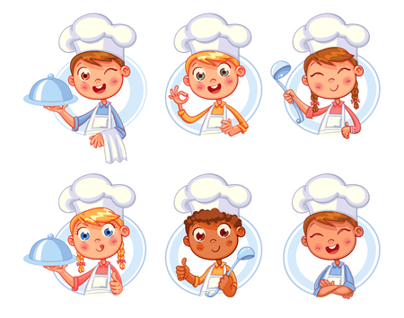 Collection of cook chef portraits in different situations. Child in a cook's cap and with a towel, holds a ladle. Kid makes gesture ok, holding dish with food. icon design template for baby food.