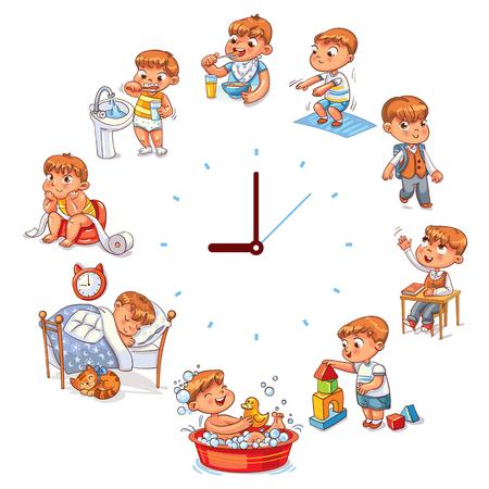 Dagelijkse routine met eenvoudige horloges. Vector set met babyjongen. Grappig stripfiguur. Vector illustratie, geïsoleerd op een witte achtergrond. Stockfoto - 91740748
