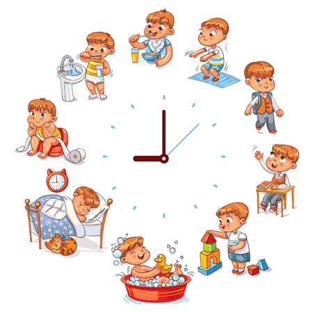 Daily routine with simple watches. Vector set with baby boy. Funny cartoon character. Vector illustration, isolated on white background. Stock Vector - 91740748