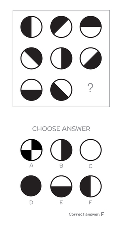 IQ test. Choose correct answer. Logical tasks composed of geometric shapes.