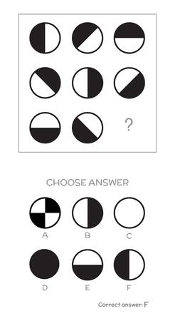 IQ test. Choose correct answer. Logical tasks composed of geometric shapes.