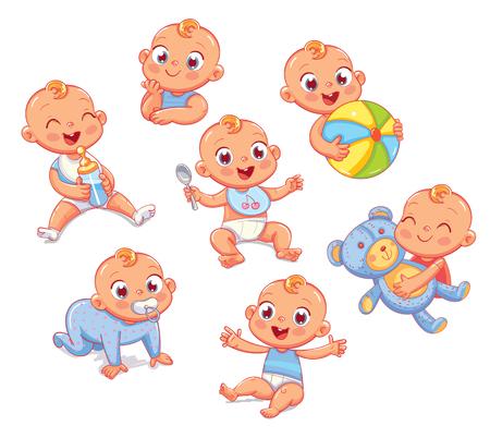 Glücklicher lächelnder neugeborener Junge in den verschiedenen Situationen . Lächelnder kleiner kleiner Baby in der Windel