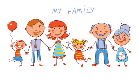 Big happy family consisting of a father, mother, daughter, son, grandparents posing together. In the style of children's drawings. Funny cartoon character.