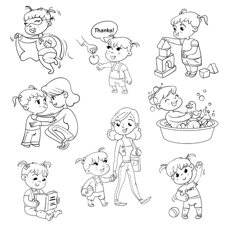 Cartoon kid daily routine activities set. Girl goes for a walk with mom. Kid with Speech say thank you. Child takes a bath.