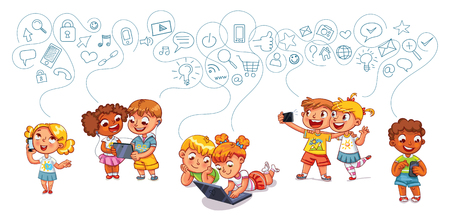 Kids talking on the phone. Boy is getting SMS. Boy and girl with laptop. Banque d'images - 91758148