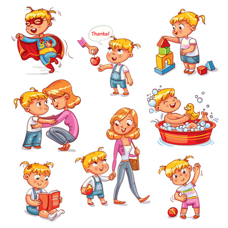 Cartoon kid daily routine activities set. Girl goes for a walk with mom. Kid with Speech say thank you. Child takes a bath. Reading a book. Girl doing exercises. Funny cartoon character.