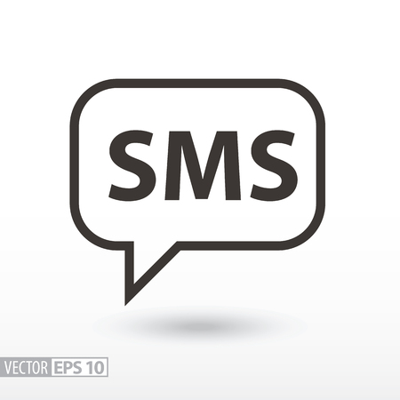 SMS flat Icon. Sign sms message. Vector logo for web design, mobile and infographics.