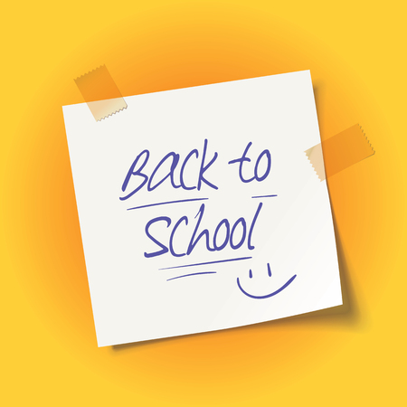 Sheet of paper with adhesive tape. Back to school message. Inscription in scribble handwriting on a school notebook. Stock Illustratie