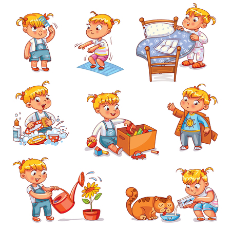 Daily routine. Child is combing his hair. Girl washes dishes. Kid is putting his toys in a box. Child makes bed. Girl himself clothes. Girl doing fitness exercise. Baby feeds a pet.