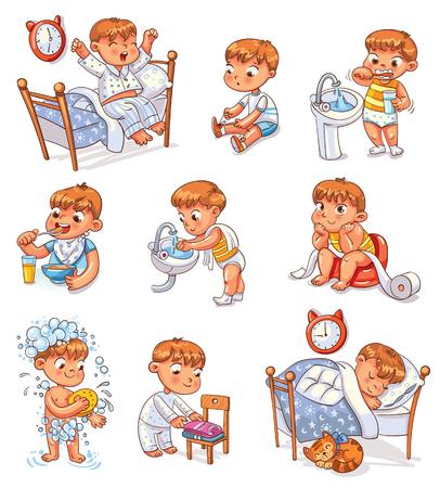 Dagelijkse routine-activiteiten. Baby zittende kinderpot. Jongen zijn tanden poetsen. Kid vouwt zijn kleren netjes op.