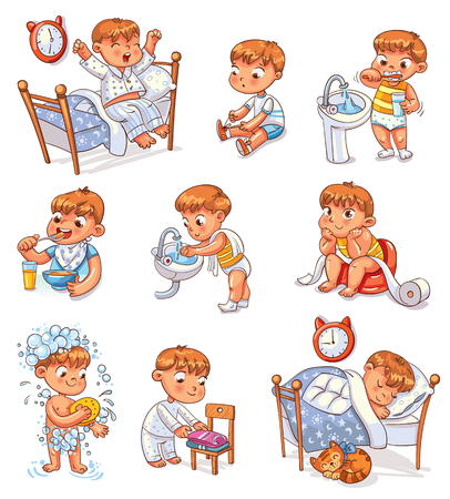 Daily routine activities. Baby sitting children's pot. Boy brushing his teeth. Kid neatly folds his clothes. Иллюстрация
