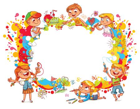 子供のテンプレートデザインの抽象的な色のスプラッシュ。  イラスト・ベクター素材
