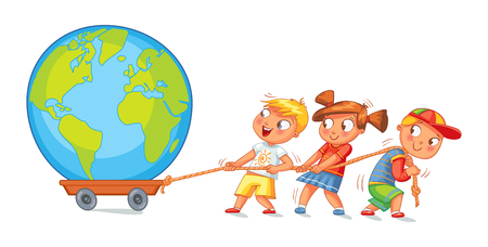 Kids pulling wagon with a globe.