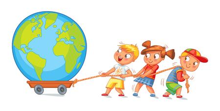 Kinderen trekken wagen met een wereldbol.