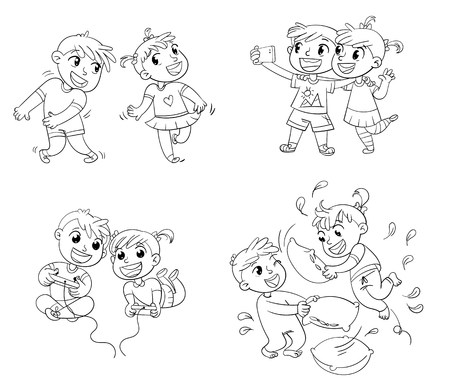 Kids spend leisure time fun illustration.