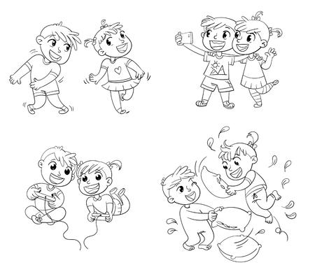 Kids spend leisure time fun illustration.