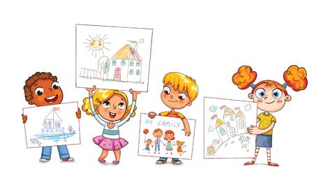 Cute kids show their drawings drawn.