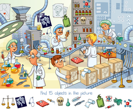 Find 15 objects in the picture with scientist design.