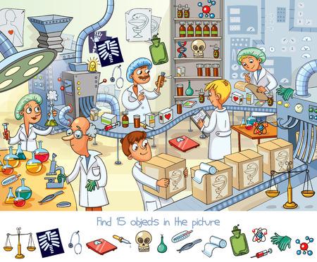 Znajdź 15 obiektów na obrazku z projektem naukowca.