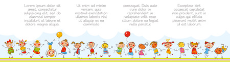 Happy kids. Template for advertising brochure. Ready for your message. In the style of children's drawings