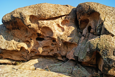 Rock erosion. Weathered. Geological formations. National Nature Sanctuary. Donetsk. Ukraine Zdjęcie Seryjne