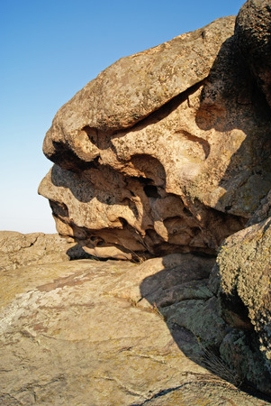Rock erosion. Weathered. Geological formations. National Nature Sanctuary. Donetsk. Ukraine Stock Photo