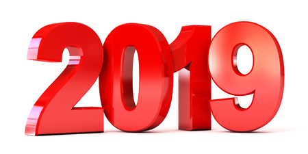Red new year 2019. Conceptual illustration. Isolated on white background. 3d render