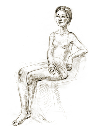 Academic figure drawing of a young girl. Hand-drawing in pencil