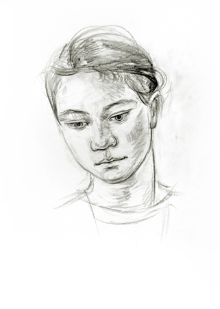 Portrait of a girl with a pencil. Hand drawn