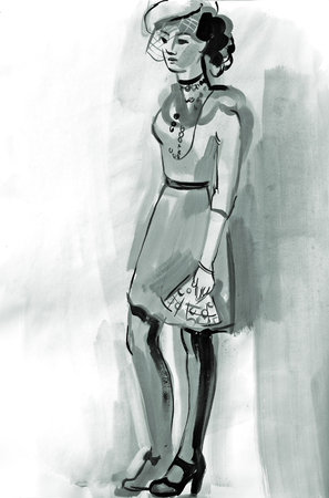 Sketch of a female figure. Hand-drawing in gouache Banco de Imagens