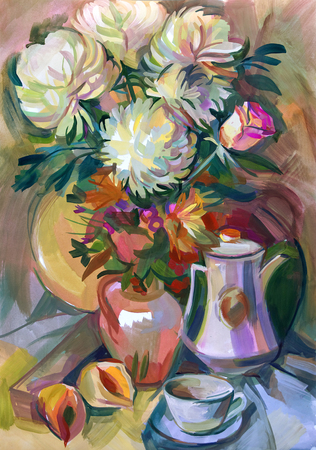Still life a bouquet of flowers. Hand-drawn in gouache Banco de Imagens