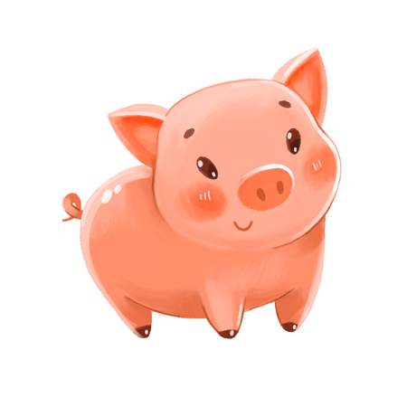 Cute pig. Can be used as a symbol of the New Year or Piggy Bank. Funny cartoon character. Isolated on white background. Hand-drawing Illustration